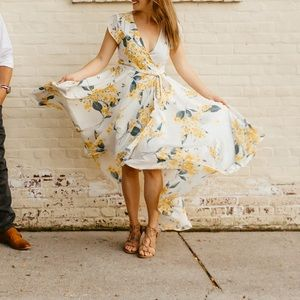 French Countryside Floral Print High-Low Dress